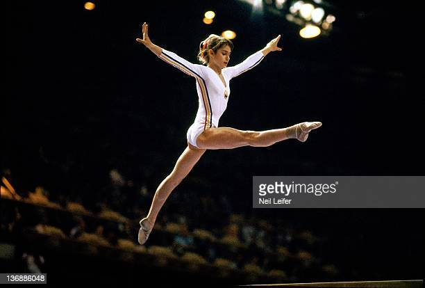 Gymnastics 1976 Summer Olympics Romania Nadia Comaneci in action on balance beam at the Montreal Forum Montreal Canada 7/19/1976 CREDIT Neil Leifer