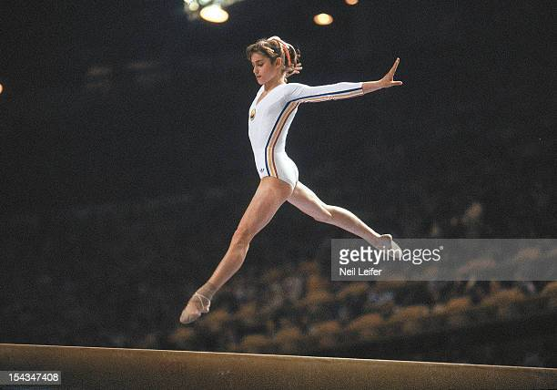 1976 Summer Olympics Romania Nadia Comaneci in action on balance beam at Montreal Forum Montreal Canada 7/19/1976 CREDIT Neil Leifer