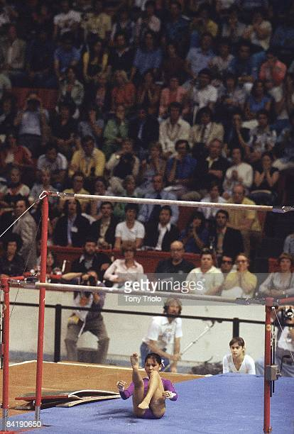 1976 Summer Olympics USSR Nellie Kim down on mat after falling during uneven bars at Montreal Forum Montreal Canada 7/17/19768/1/1976 CREDIT Tony...