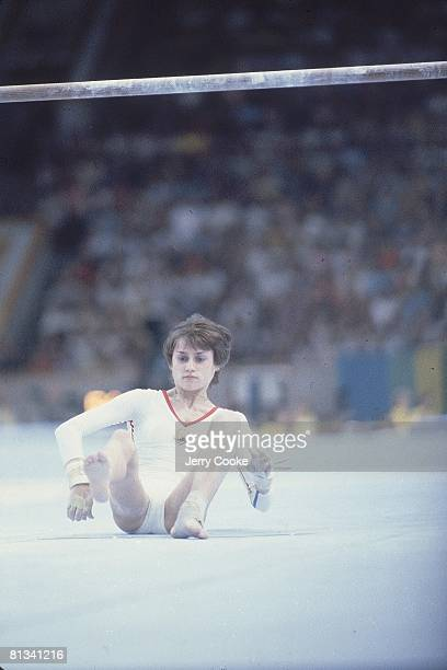 Gymnastics 1980 Summer Olympics ROM Nadia Comaneci after losing grip on uneven bars during all around Moscow USR 7/19/19808/3/1980