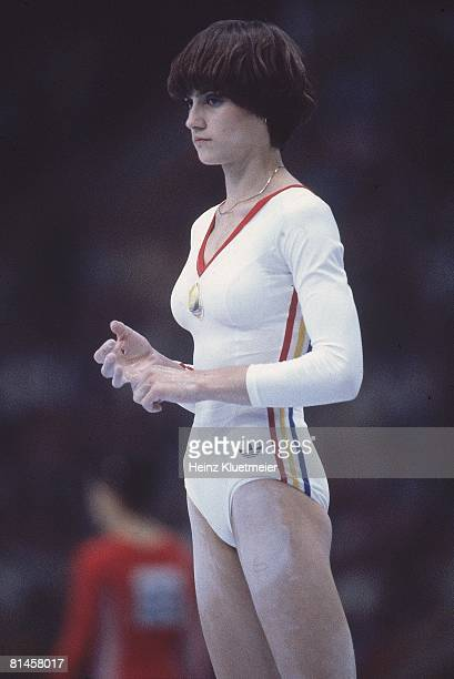 Gymnastics 1980 Summer Olympics ROM Nadia Comaneci during competition Moscow USR 7/19/19808/3/1980