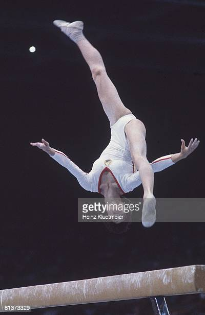 Gymnastics 1980 Summer Olympics ROM Nadia Comaneci in action during balance beam competition Moscow USR 7/19/19808/3/1980