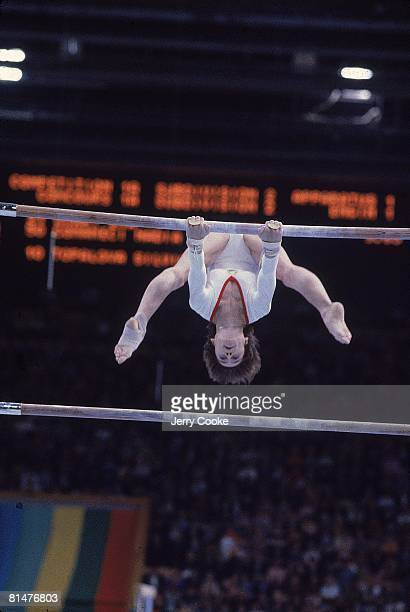 Gymnastics 1980 Summer Olympics ROM Nadia Comaneci in action during competition Moscow USR 7/19/19808/3/1980