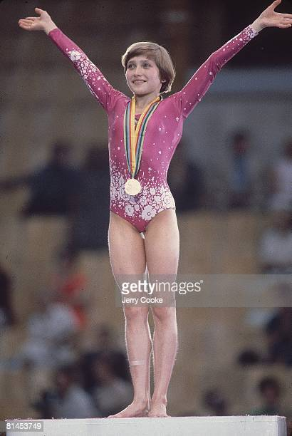 Gymnastics 1980 Summer Olympics USR Yelena Davydova victorious with gold medal after all around Moscow USR 7/19/19808/3/1980