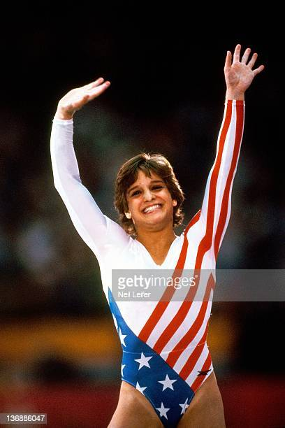 Gymnastics 1984 Summer Olympics Closeup of USA Mary Lou Retton victorious during competition at Pauley Pavilion Los Angeles CA 8/3/1984 CREDIT Neil...