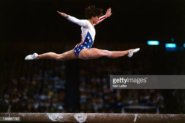 Gymnastics 1984 Summer Olympics USA Mary Lou Retton in action on balance beam at Pauley Pavilion Los Angeles CA 8/3/1984 CREDIT Neil Leifer