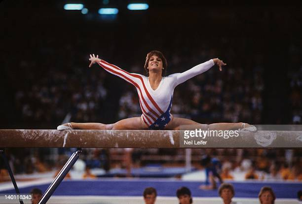 1984 Summer Olympics USA Mary Lou Retton in action on balance beam at Pauley Pavilion Los Angeles CA CREDIT Neil Leifer