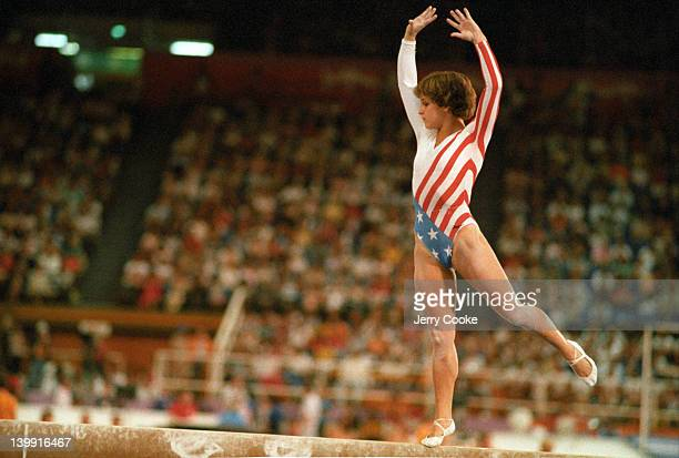 1984 Summer Olympics USA Mary Lou Retton in action on balance beam during Women's AllAround Team competition at Pauley Pavilion Los Angeles CA CREDIT...