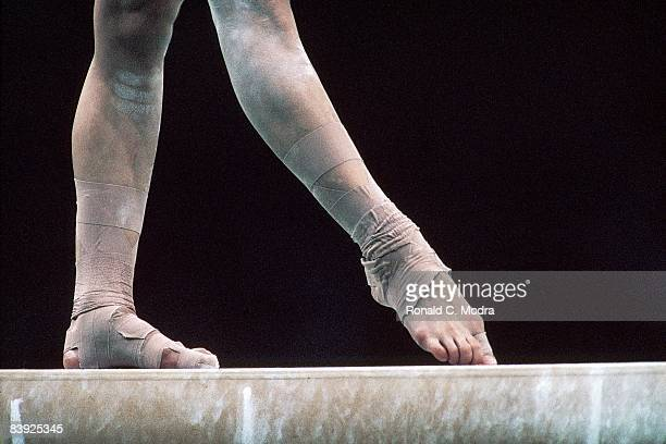 1988 Summer Olympics Closeup of legs on balance beam during Women's competition at Olympic Gymnastics Hall Seoul South Korea 9/17/198810/2/1988...