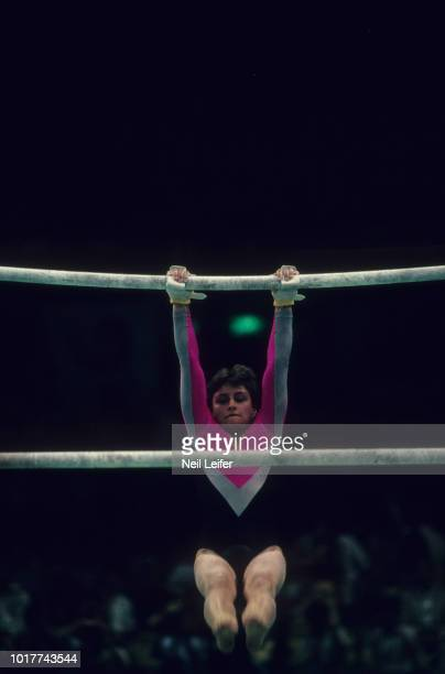 1988 Summer Olympics USSR Elena Shushunova in action on Uneven bars during Women's Individual AllAround competition at Olympic Gymnastics Arena...