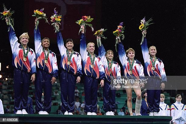 Gymnastics 1996 Summer Olympics Team USA Amanda Borden Dominique Dawes Amy Chow Jaycie Phelps Dominique Moceanu Kerri Strug and Shannon Miller...