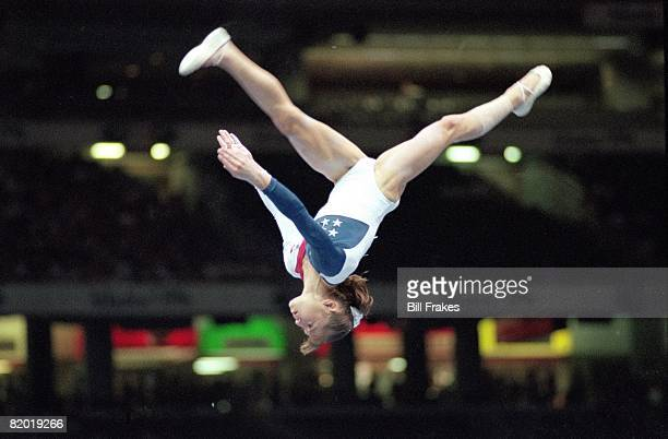 1996 Summer Olympics USA Dominique Moceanu in action on Balance Beam during Team All Around Final at Georgia Dome Atlanta GA 7/23/1996 CREDIT Bill...