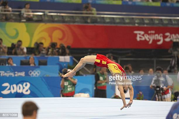 2008 Summer Olympics China Yang Wei in action floor exercise during Men's Individual AllAround Final at National Indoor Stadium Beijing China...