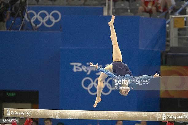 2008 Summer Olympics Russia Anna Pavlova in action during balance beam of Women's Individual AllAround Final at National Indoor Stadium Beijing China...