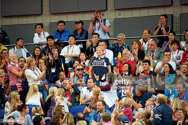 2012 Summer Olympics Former Soviet Union gymnast Larisa Latynina winner of 18 Olympic medals waving to the crowd during Women's Team AllAround Final...