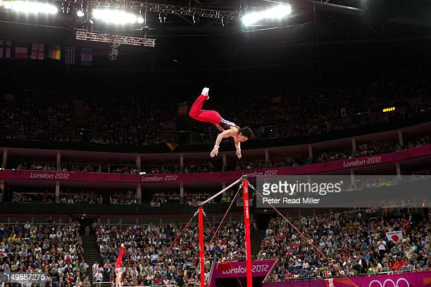 2012 Summer Olympics Japan Kohei Uchimura in action high bar during Men's Team AllAround Final at North Greenwich Arena Japan wins silver London...