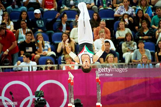 2012 Summer Olympics Mexico Daniel Corral Barron in action during Men's Parallel Bars Final at North Greenwich Arena London United Kingdom 8/7/2012...
