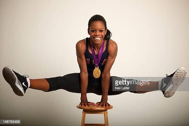 Summer Olympics: Portrait of USA Gabrielle Douglas posing during photo shoot at NBC Today Show television set in Olympic Park. Douglas won Women's...
