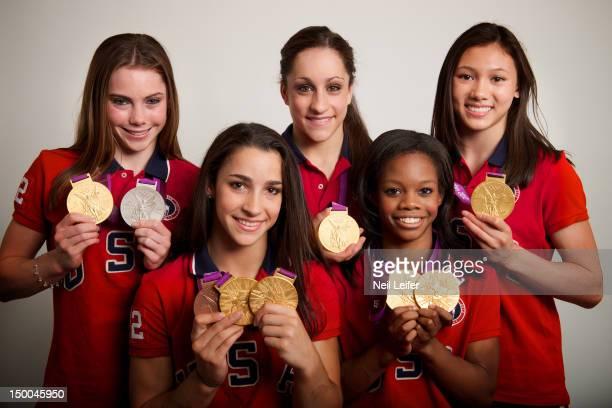 Summer Olympics: Portrait of USA Women's Team All-Around gold medal winners McKayla Maroney, Alexandra Raisman, Jordyn Wieber, Gabrielle Douglas, and...
