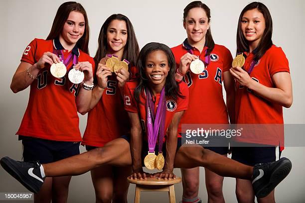 2012 Summer Olympics Portrait of USA Women's Team AllAround gold medal winners McKayla Maroney Alexandra Raisman Gabrielle Douglas Jordyn Wieber and...
