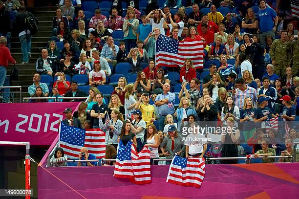 2012 Summer Olympics Team USA fans in stands during Women's Team AllAround Final at North Greenwich Arena London United Kingdom 7/31/2012 CREDIT Al...