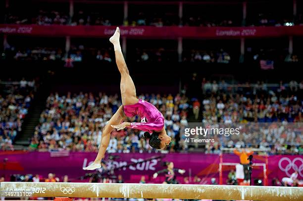 2012 Summer Olympics USA Gabrielle Douglas in action balance beam during Women's Individual AllAround Final at North Greenwich Arena Douglas wins...