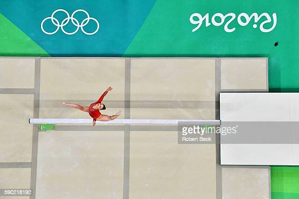 2016 Summer Olympics Aerial view of USA Laurie Hernandez in action during Women's Balance Beam Final at the Rio Olympic Arena Rio de Janeiro Brazil...