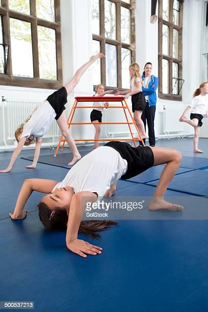 gymnastics at school - school gymnastics stock photos and pictures