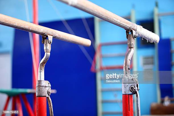 gymnastics bars - parallel bars gymnastics equipment stock photos and pictures