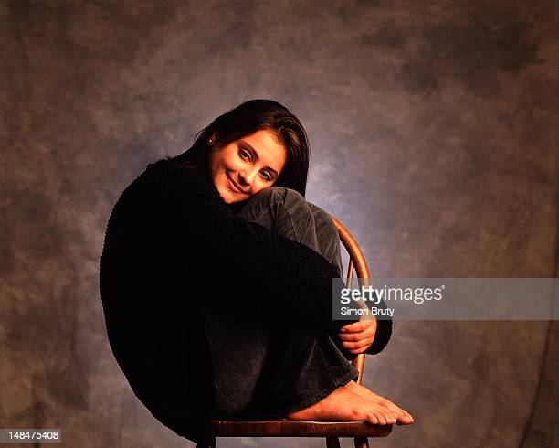 Casual portrait of 1996 Olympic gold medalist Dominique Moceanu posing during photo shoot New York NY CREDIT Simon Bruty
