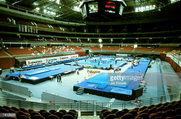 Gymnastics equipment is placed in preparation for the Olympic Games to be held in Sydney, Australia, March 30, 2000.