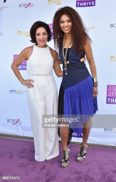 Gymnastics Head Coach Valorie Kondos Field and musician Judith Hill attend Jump Jive and Thrive at Pauley Pavilion on October 8 2017 in Los Angeles...