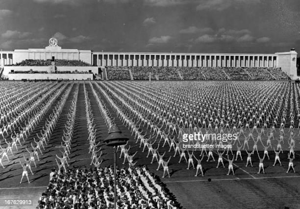 Gymnastics of 15000 people Nuremberg Rally Germany Photograph 1938 Turnvorführung mit 15 000 Beteiligten auf der Zeppelinwiese im Rahmen des...