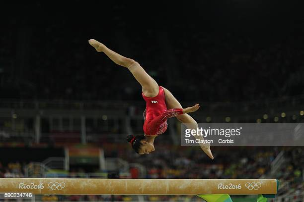 Day 10 Lauren Hernandez of the United States performs her routine in the Women's Balance Beam Final which won her the silver medal during the...