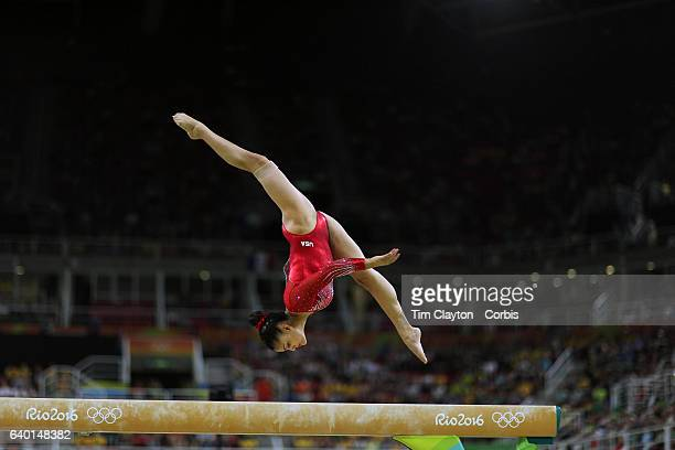 Day 10 Lauren Hernandez of the United States performing her routine which won her the silver medal in the Women's Balance Beam Final during the...