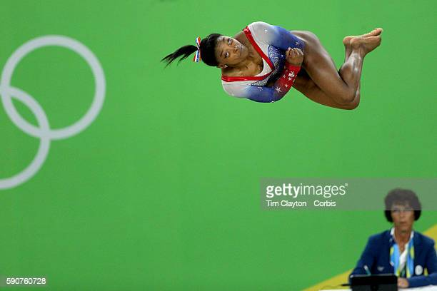 Day 11 Simone Biles of the United States performs her routine on the floor exercise which won her the gold medal during the Apparatus Finals at the...