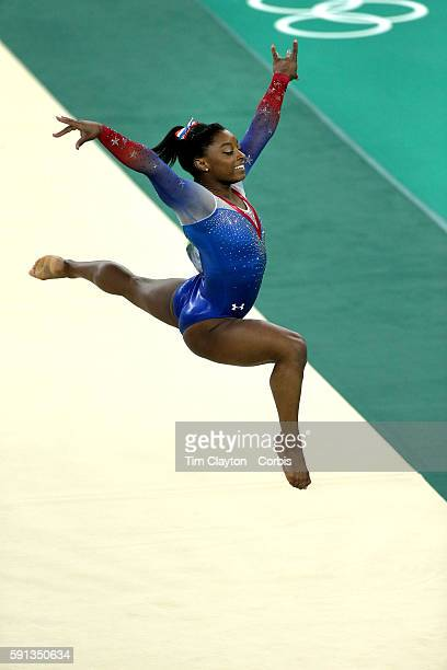 Gymnastics - Olympics: Day 11 Simone Biles of the United States performs her routine on the floor exercise which won her the gold medal during the...