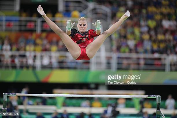 Day 2 Elisabeth Seitz of Germany performing her routine on the uneven bars during the Artistic Gymnastics Women's Qualification round at the Rio...