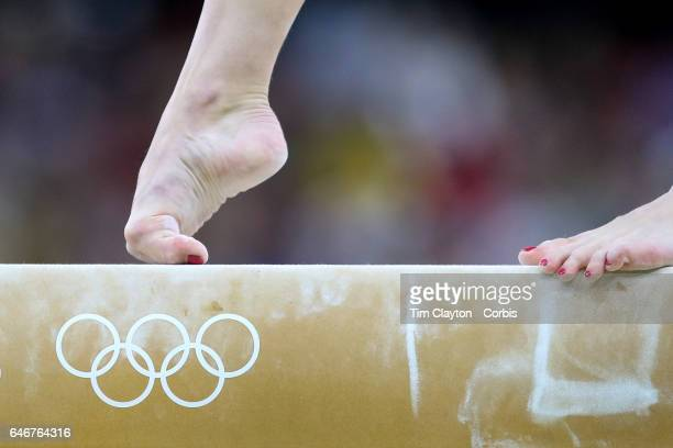 Day 2 Irina Sazonova of Iceland performing her routine on the Balance Beam during the Artistic Gymnastics Women's Team Qualification round at the Rio...
