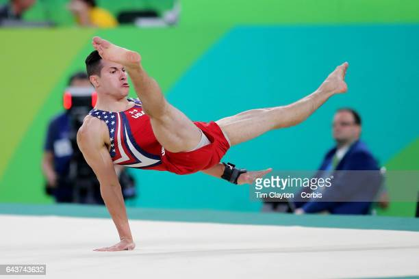 Day 3 Alexander Naddour of the United States performing his Floor Exercise routine during the Artistic Gymnastics Men's Team Final at the Rio Olympic...
