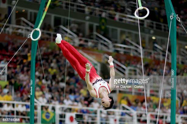 Day 3 Kohei Uchimura of Japan performing his Still Rings routine during the Artistic Gymnastics Men's Team Final at the Rio Olympic Arena on August 8...