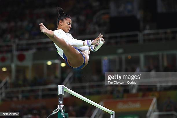 Day 4 Rebecca Downie of Great Britain performing her routine on the Horizontal bar during the Artistic Gymnastics Women's Team Final at the Rio...