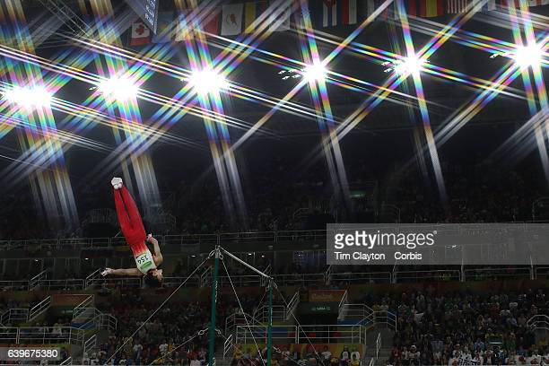 Day 5 Kohei Uchimura of in action during his routine on the Horizontal Bar during the Artistic Gymnastics Men's Individual AllAround Final at the Rio...