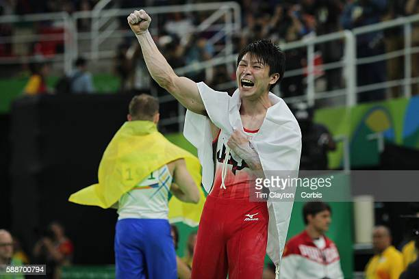 Day 5 Kohei Uchimura of Japan celebrates a dramatic victory during the Artistic Gymnastics Men's Individual AllAround Final at the Rio Olympic Arena...