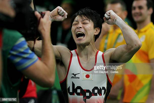 Gymnastics - Olympics: Day 5 Kohei Uchimura of Japan reacts as the final score comes through giving him a dramatic victory during the Artistic...