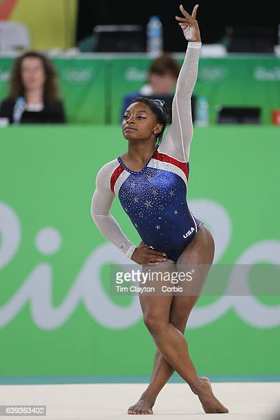 Day 6 Simone Biles of the United States in action during her Floor Exercise during her gold Medal performance in the Artistic Gymnastics Women's...