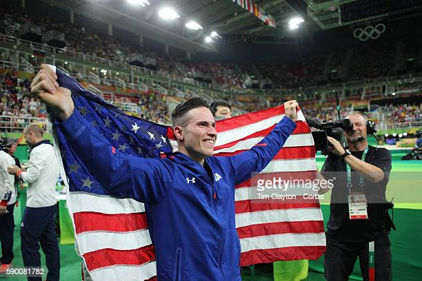 Day 9 Alexander Naddour of the United States celebrates his bronze medal in the Men's Pommel Horse Final to win the bronze medal at the Rio Olympic...