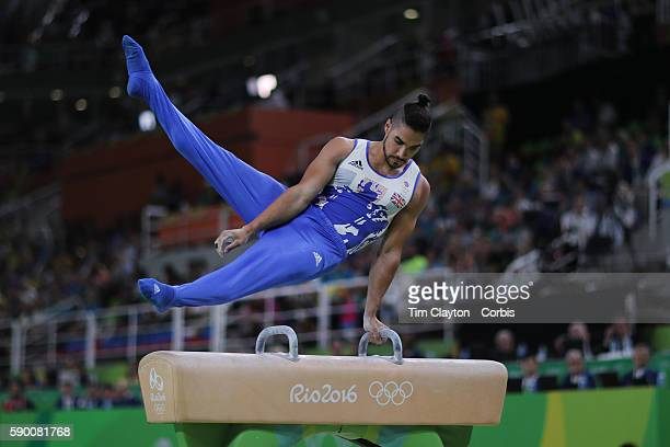 Day 9 Louis Smith of Great Britain performs his routine in the Men's Pommel Horse Final to win the silver medal at the Rio Olympic Arena on August 14...