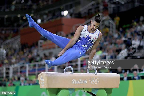 Day 9 Louis Smith of Great Britain performs his routine in the Men's Pommel Horse Final which won him the silver medal at the Rio Olympic Arena on...