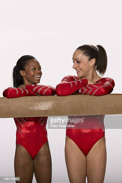 Summer Games Preview Portrait of Team USA Gabby Douglas and Jordyn Wieber during photo shoot USA Women's National Team Training Center in Bela...